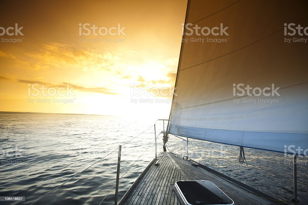 Sailing in the open sea stock photo