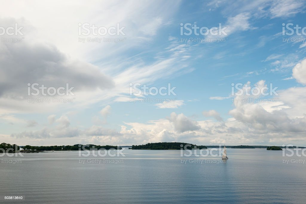 Sailing in the Stockholm archipelago, Sweden stock photo