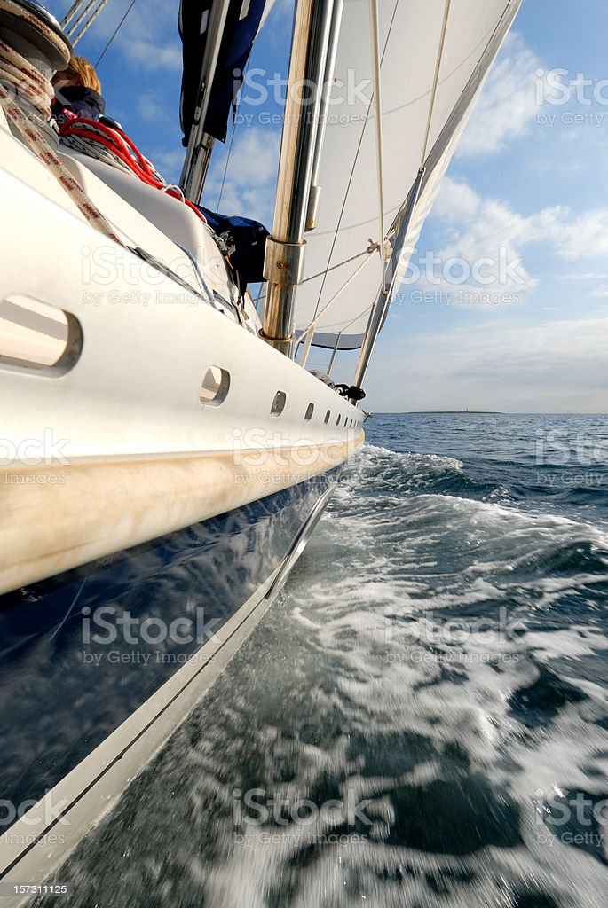 Sailing in the wind's eye royalty-free stock photo