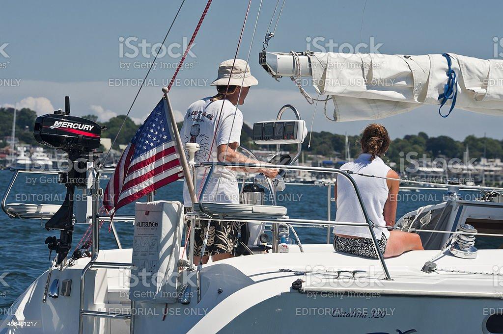 Sailing into Newport Harbor stock photo