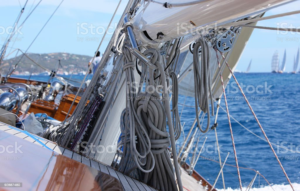 Sailing looks complicated, many ropes. stock photo