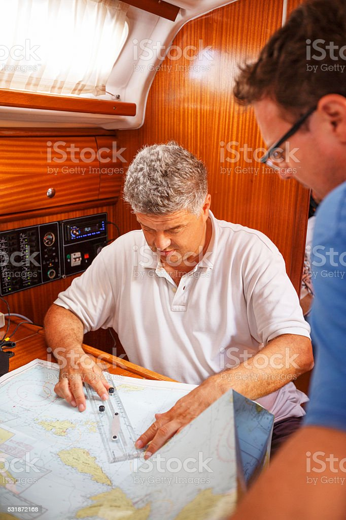 Sailing map  Planning of the navigation stock photo