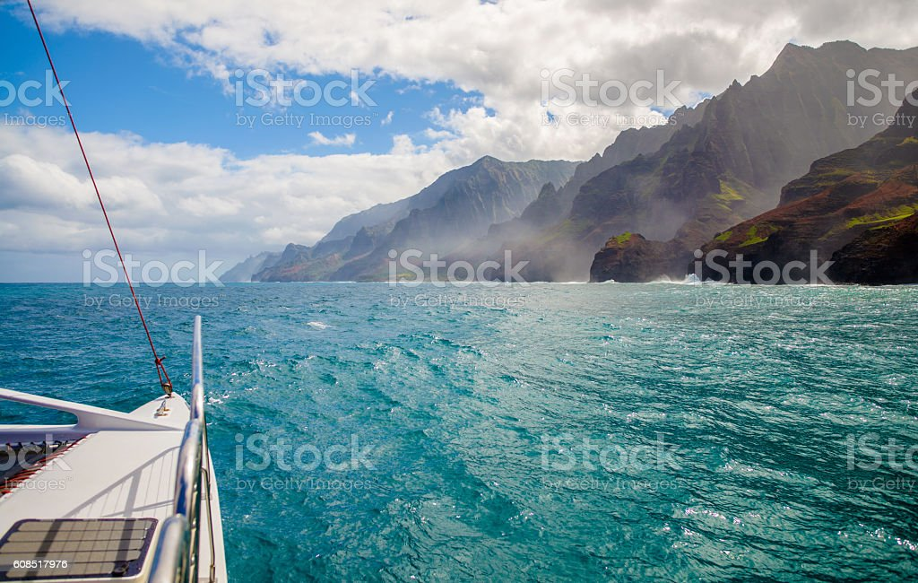 sailing, napali coast, kauai, hawaii stock photo