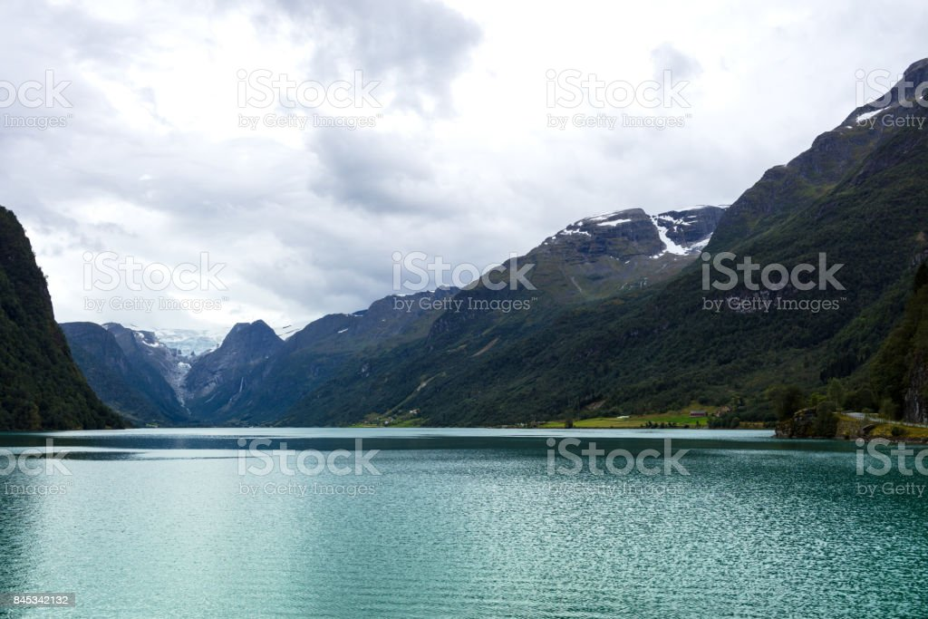 sailing on a fjord stock photo