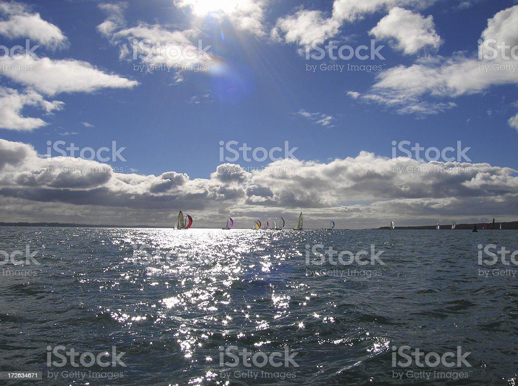 Sailing on auckland's hauraki gulf stock photo