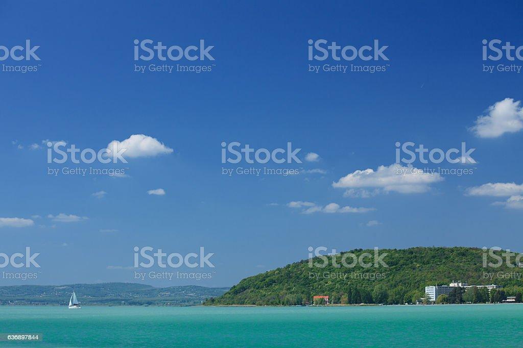 Sailing on Lake Balaton stock photo
