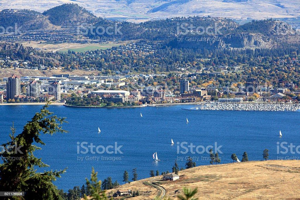 Sailing On Lake Okanagan Kelowna BC In The Fall stock photo
