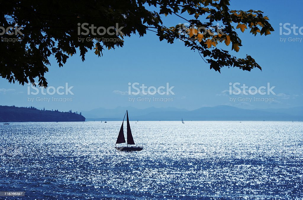 Sailing on Pacific Ocean royalty-free stock photo