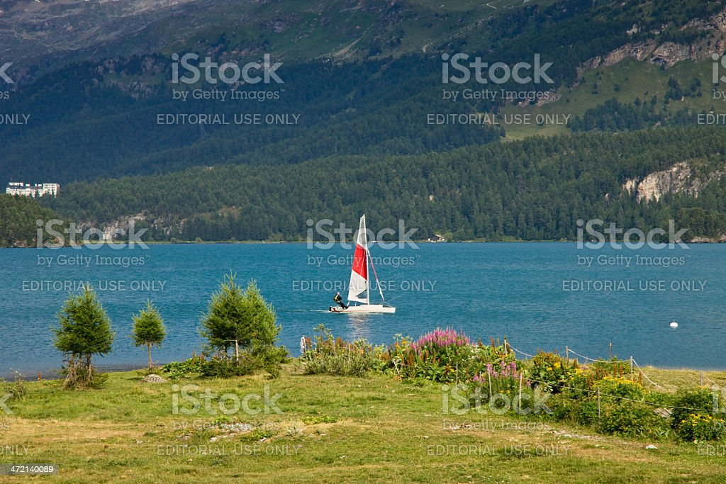 Sailing on Sils lake (Switzerland) stock photo