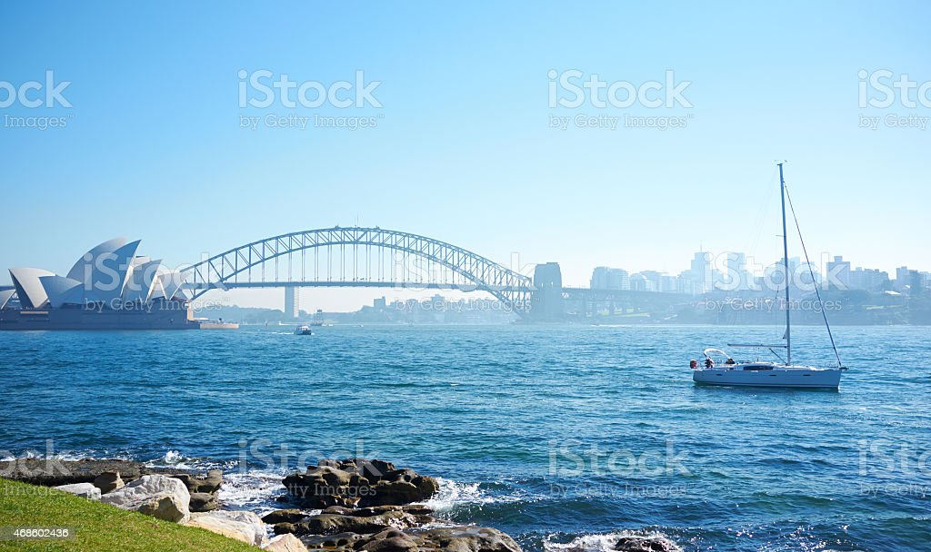 Sailing On Sydney Harbour stock photo