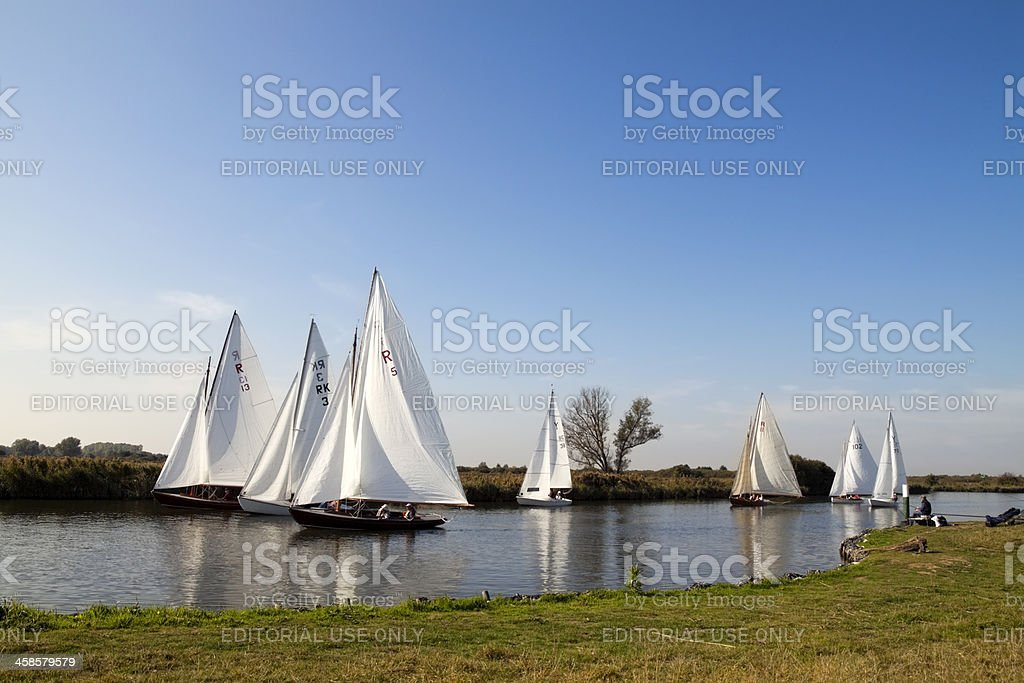 Sailing on the Bure at St Benet's Abbey stock photo