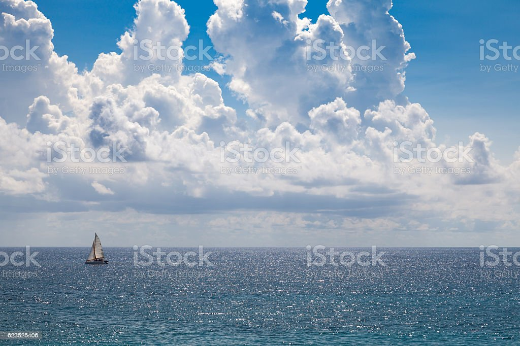 Sailing on the Caribbean Sea stock photo