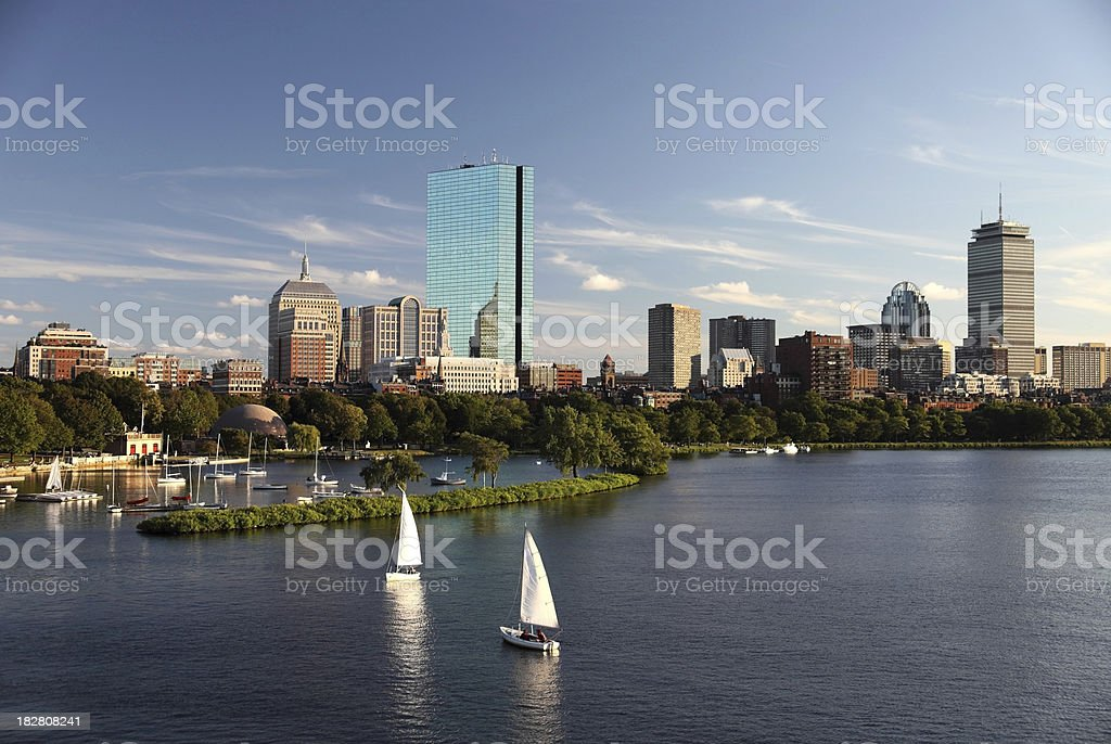 Sailing on the Charles River stock photo
