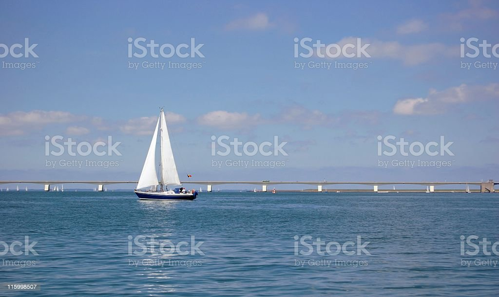 Sailing on the Eastern Scheldt stock photo