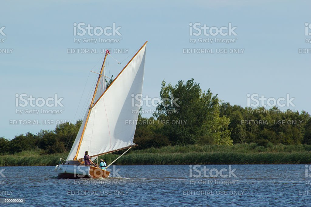 Sailing on the Norfolk Broads stock photo