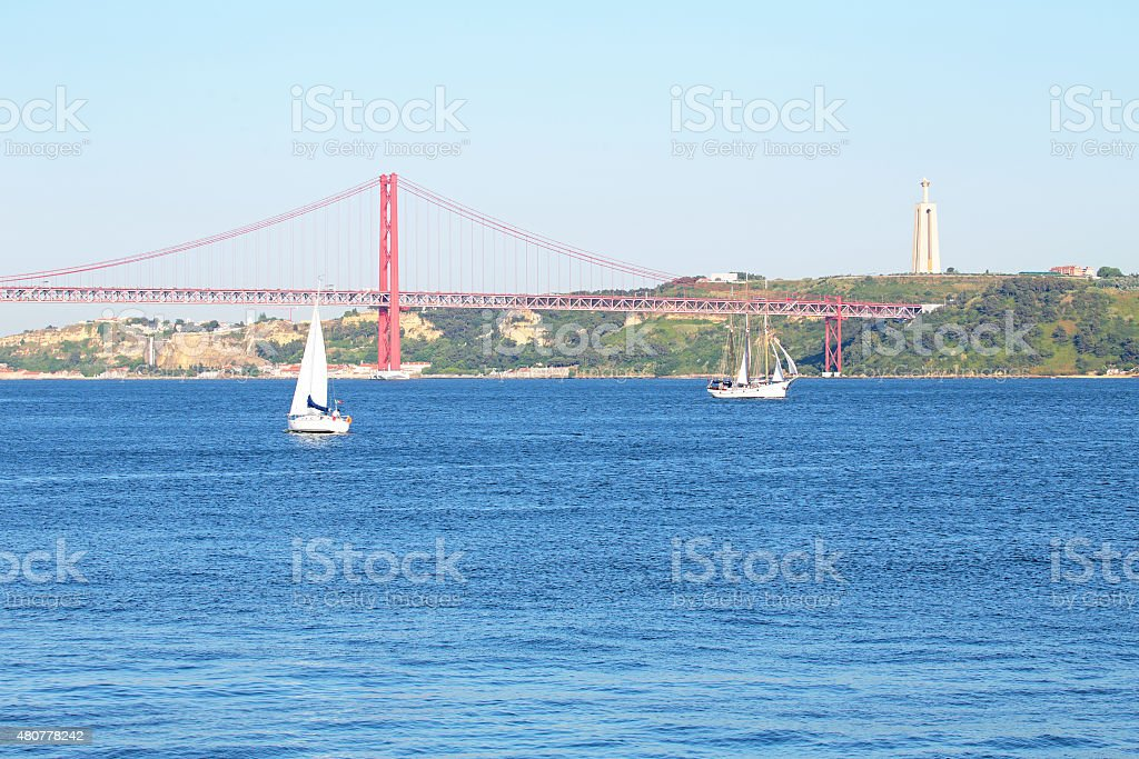 Sailing on the river Tejo near Lisbon in Portugal stock photo