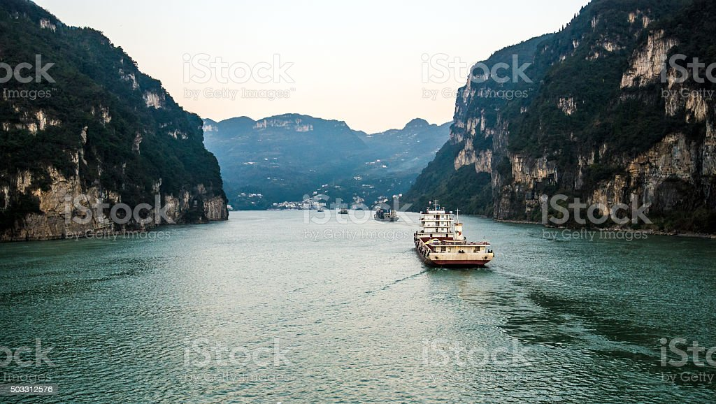 sailing on the yangtze river -three gorges area, Yichang, China stock photo