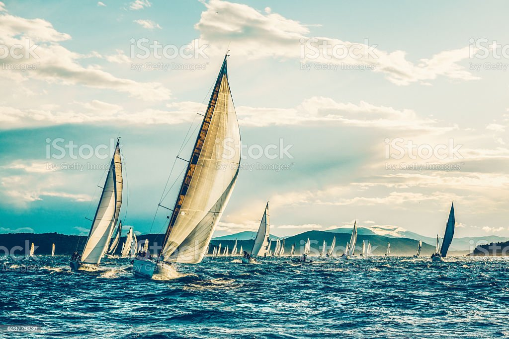Sailing regatta in early morning stock photo