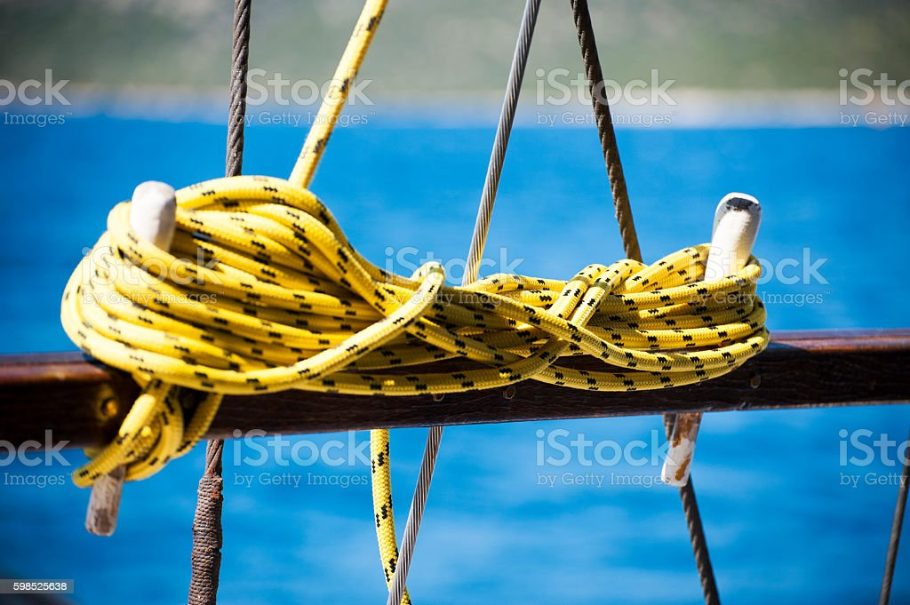 Sailing Ropes on the yacht stock photo