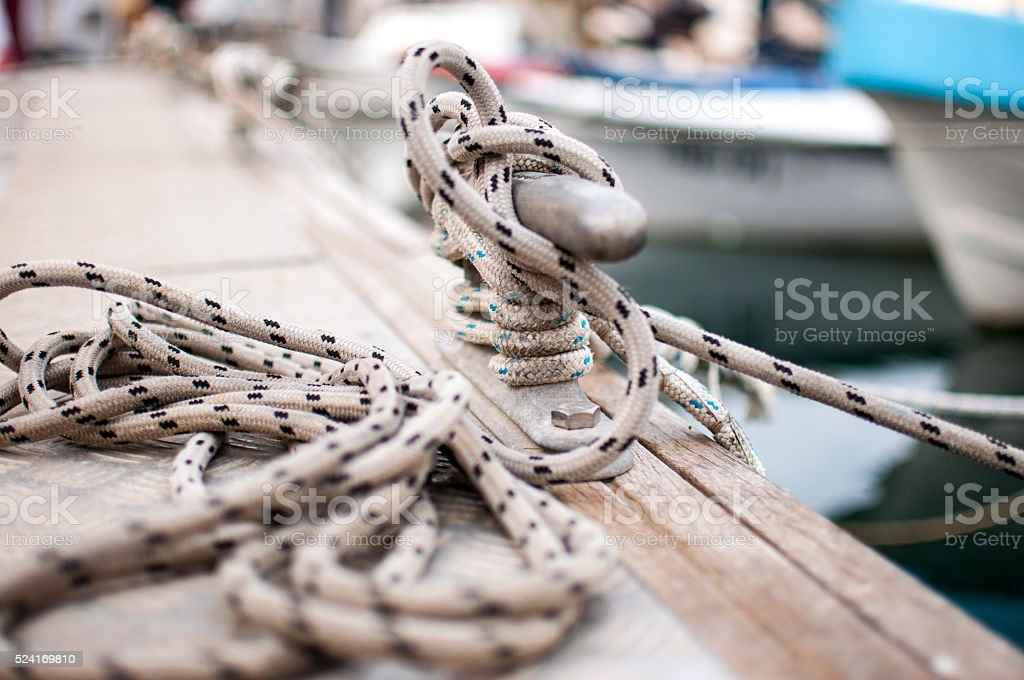 Sailing ropes stock photo