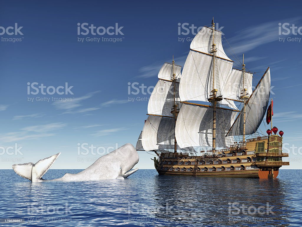 Sailing Ship and White Whale stock photo
