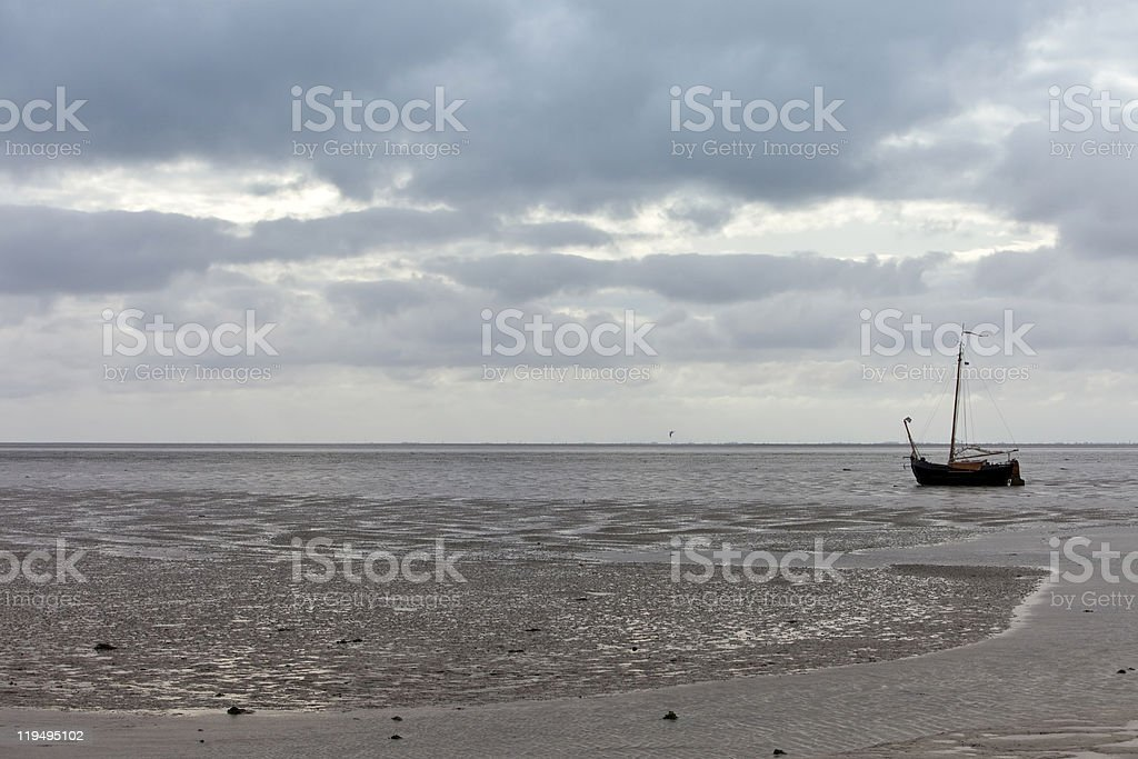 sailing ship at low tide royalty-free stock photo