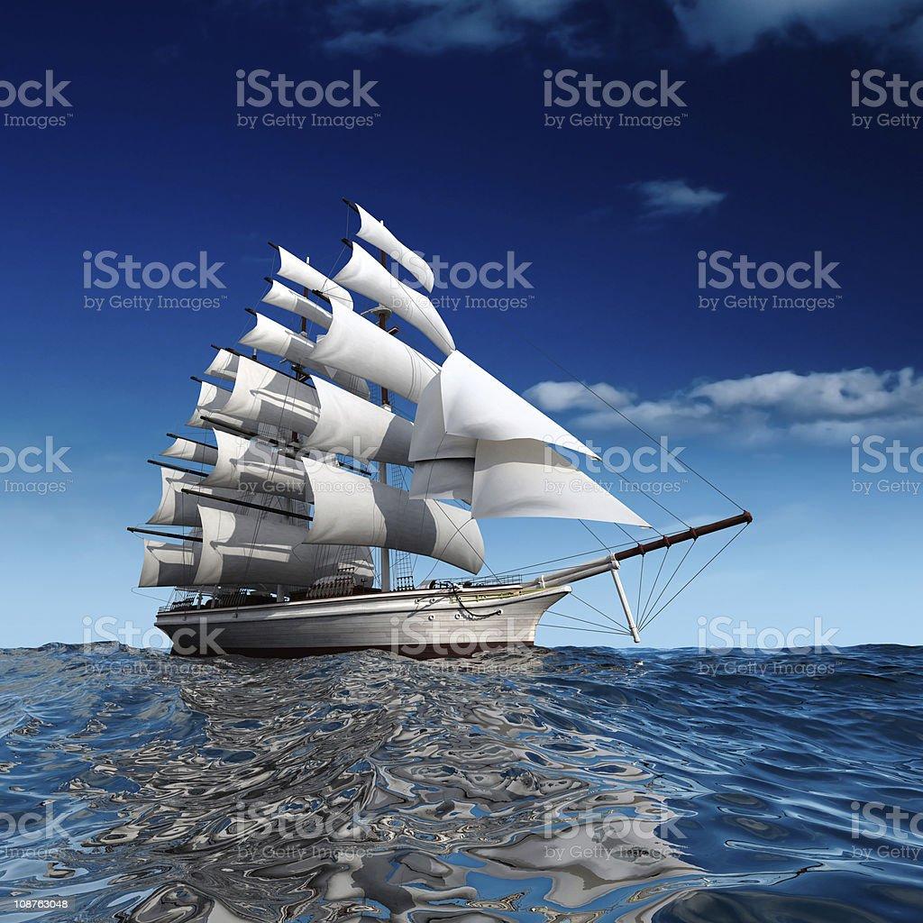 Sailing ship at sea royalty-free stock photo