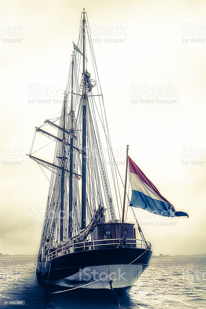 Sailing ship at sea stock photo