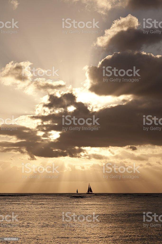 sailing ship at sunset royalty-free stock photo