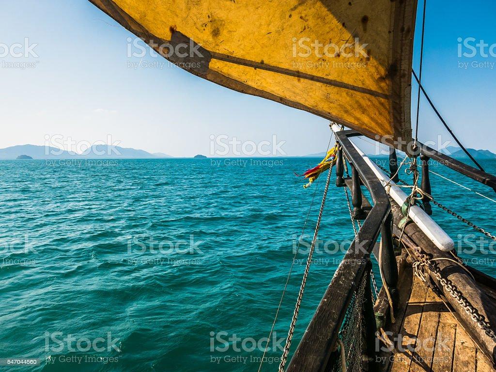 Sailing Ship Boat Mast Sail and Bow stock photo
