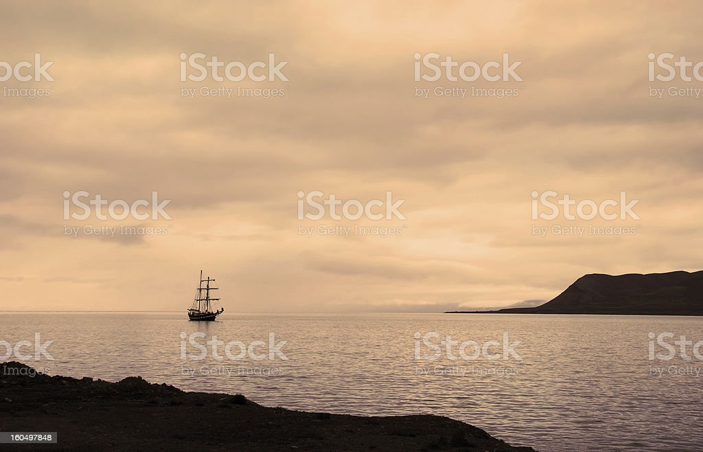 Sailing ship docked at the port of Longyearbyen royalty-free stock photo