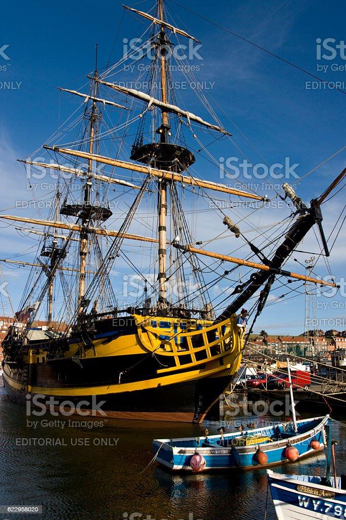 Sailing Ship Endeavour - Whitby Harbour - England stock photo