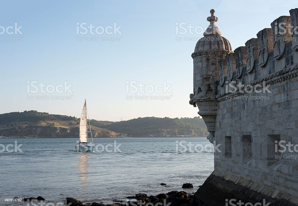 sailing ship for the belem tower stock photo