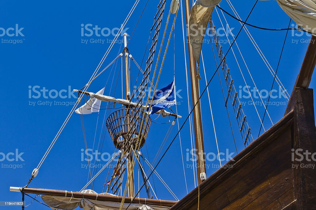 Sailing Ship From Below stock photo