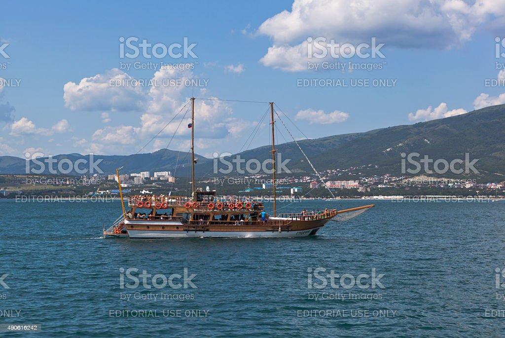 Sailing ship 'Gloria' in Gelendzhik Bay stock photo