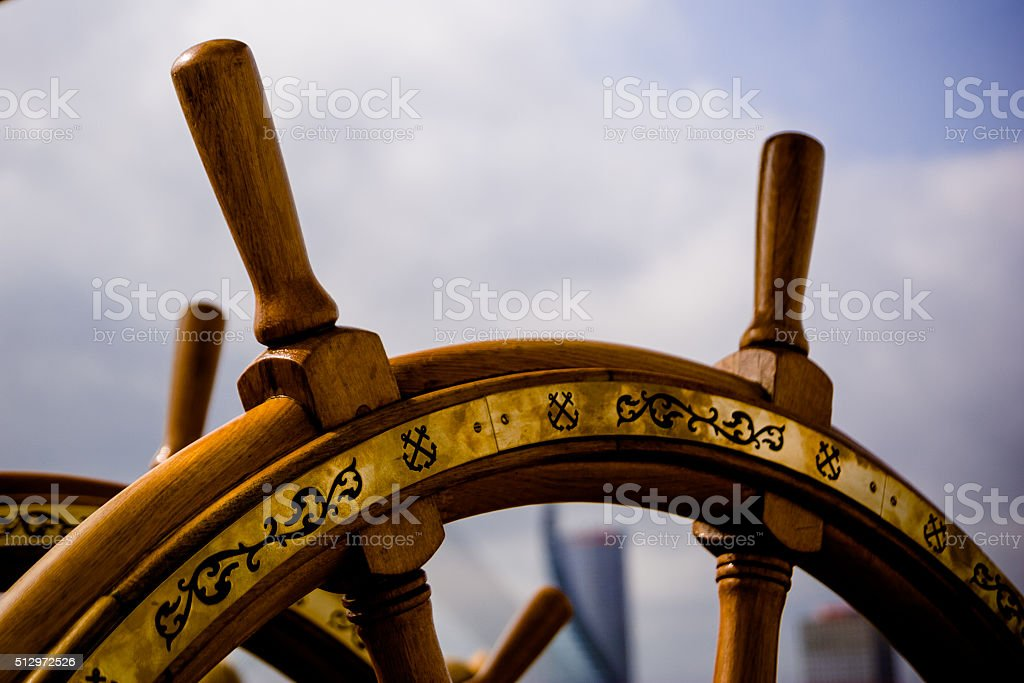 Sailing ship helm stock photo