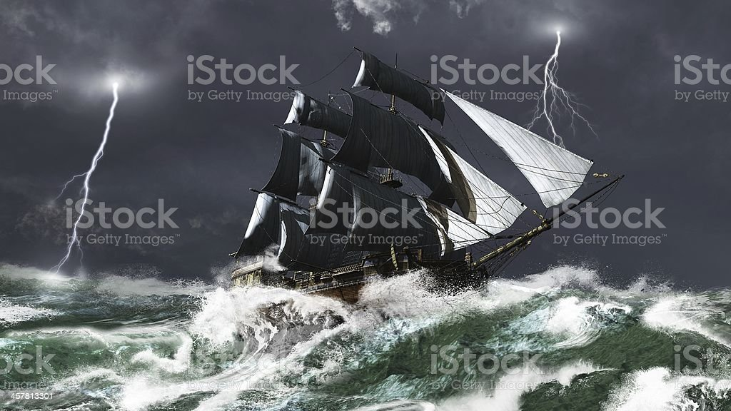 Sailing Ship in a Lightning Storm stock photo