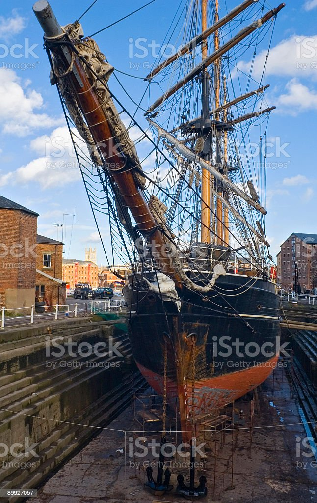 Sailing ship in dry dock stock photo