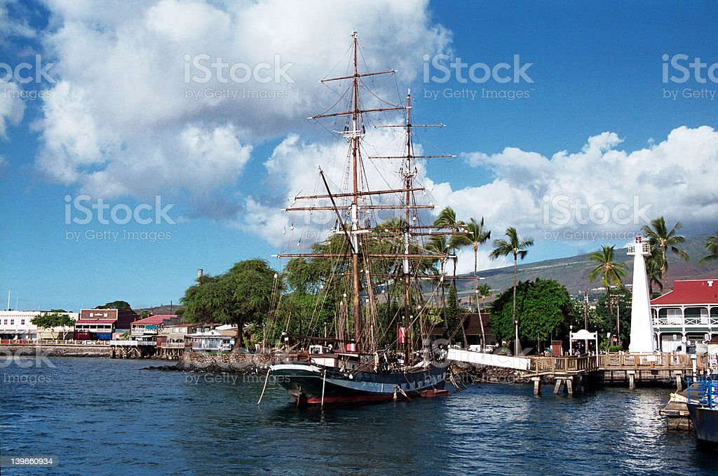 Sailing ship in Lahaina harbour, Hawaii stock photo