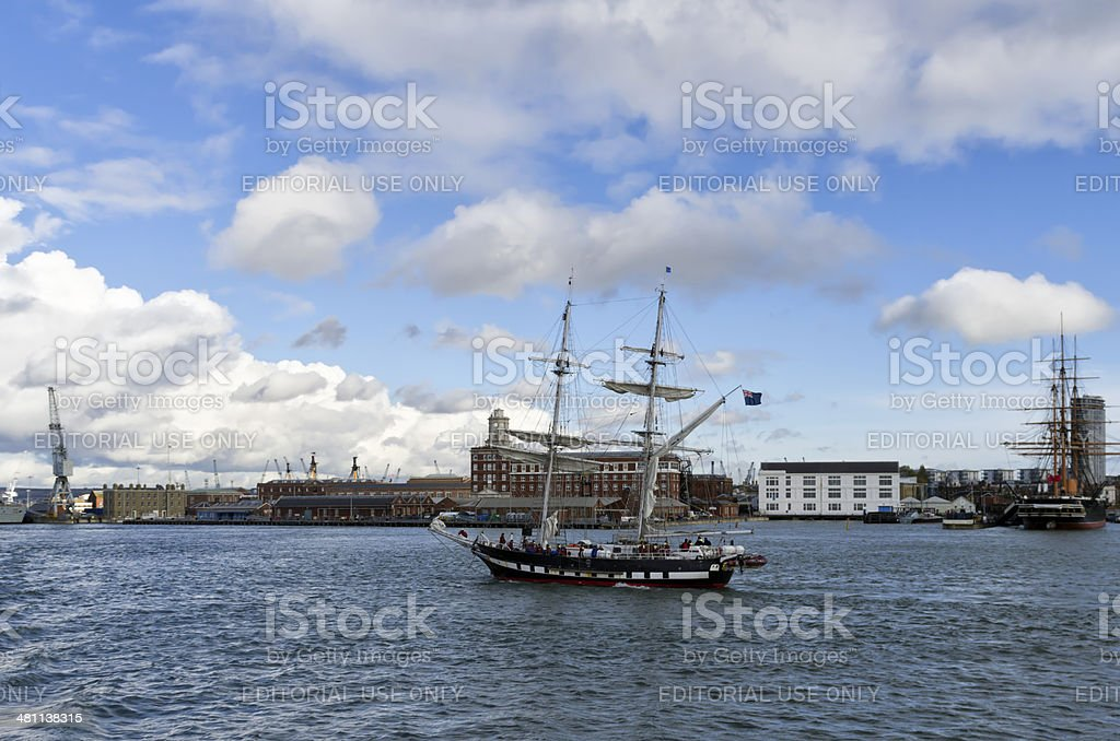 Sailing ship in Portsmouth Harbour stock photo