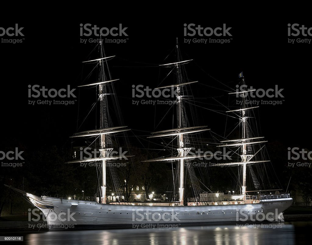 Sailing ship in Stockholm royalty-free stock photo