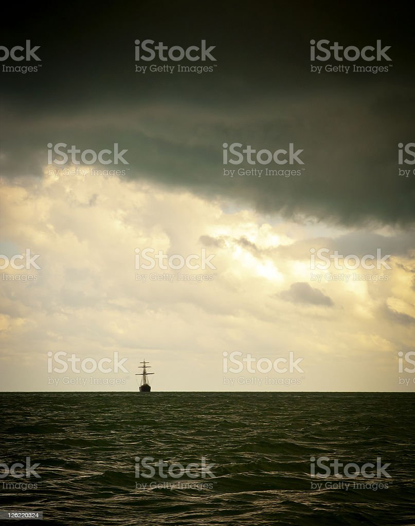 Sailing Ship in Storm royalty-free stock photo
