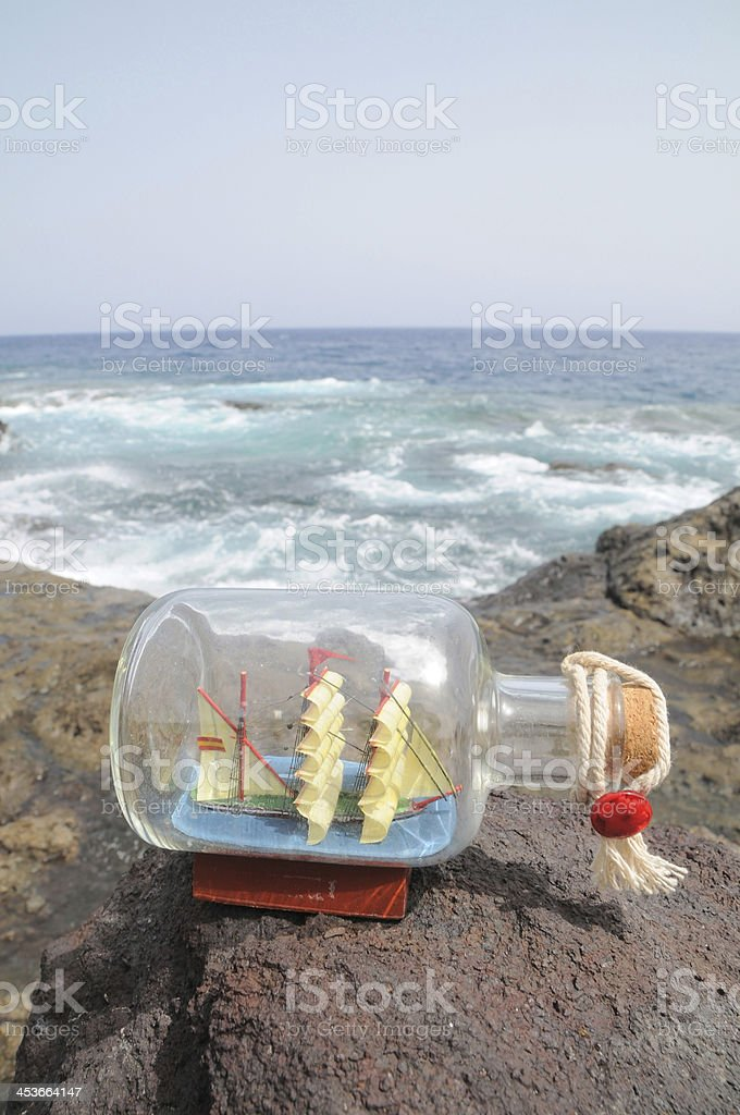 Sailing Ship in the Bottle royalty-free stock photo