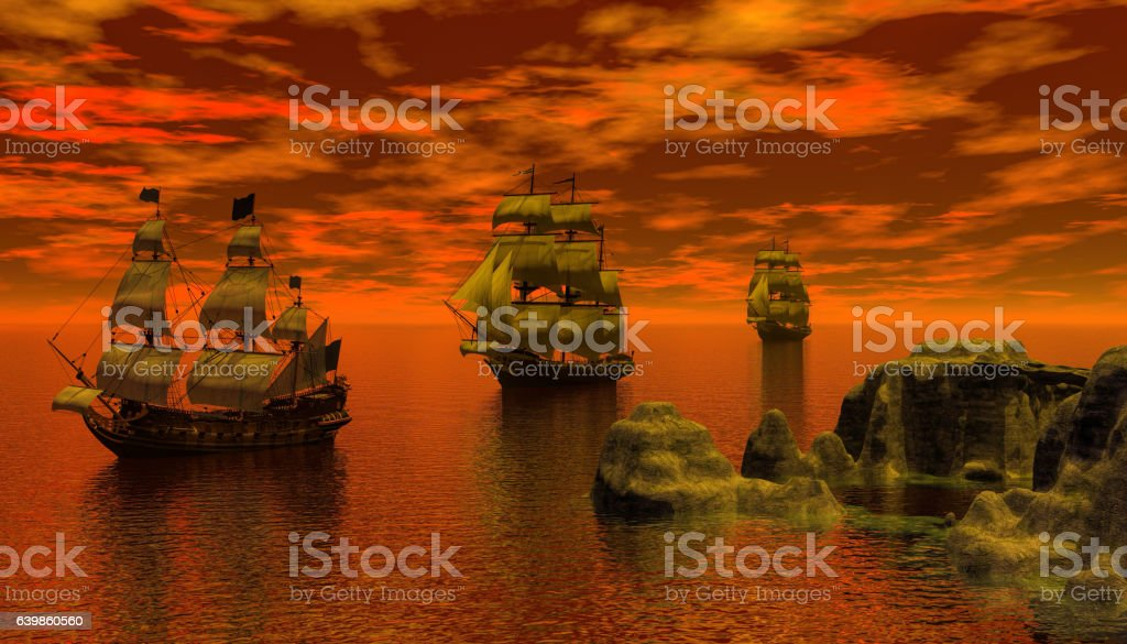 sailing ship in the early morning stock photo