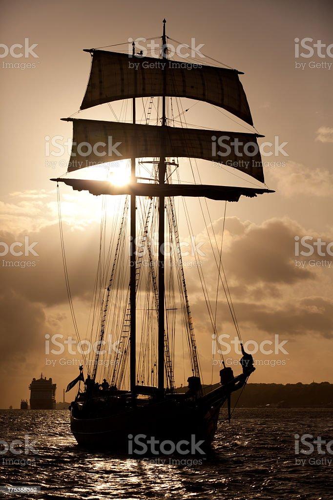 Sailing ship is entering Hamburg stock photo