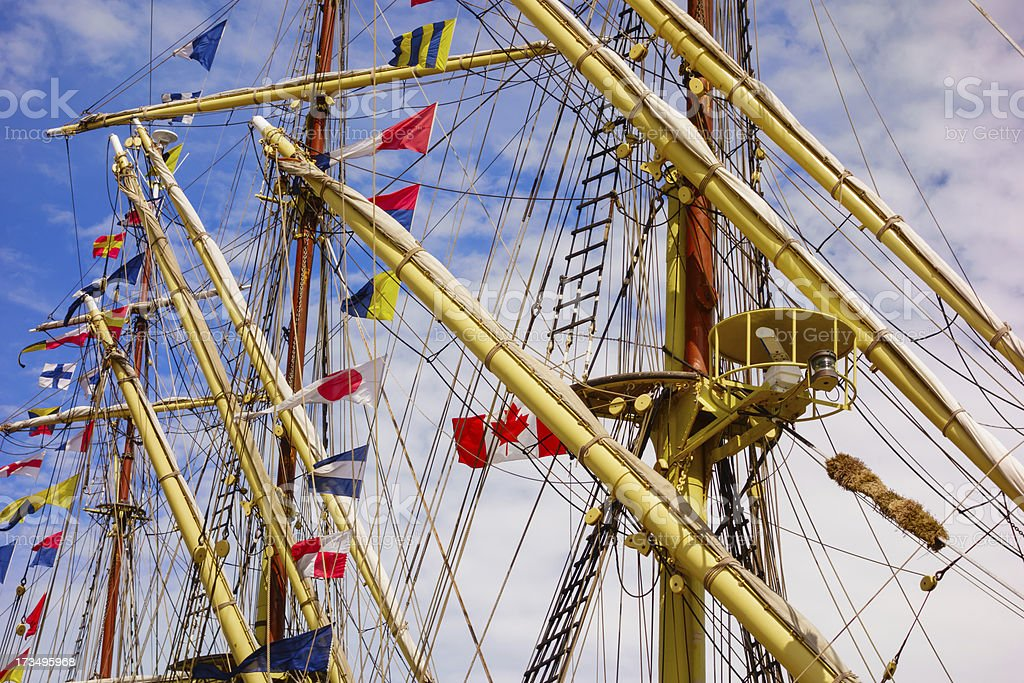 Sailing Ship Masts and Rigging with Flags royalty-free stock photo