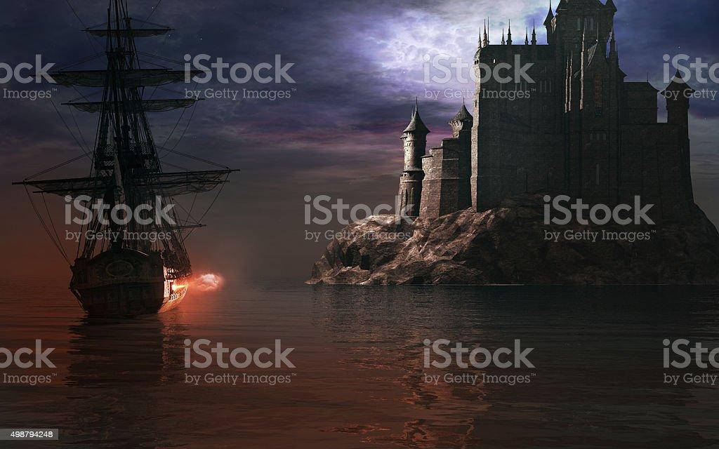 Sailing ship near the castle stock photo
