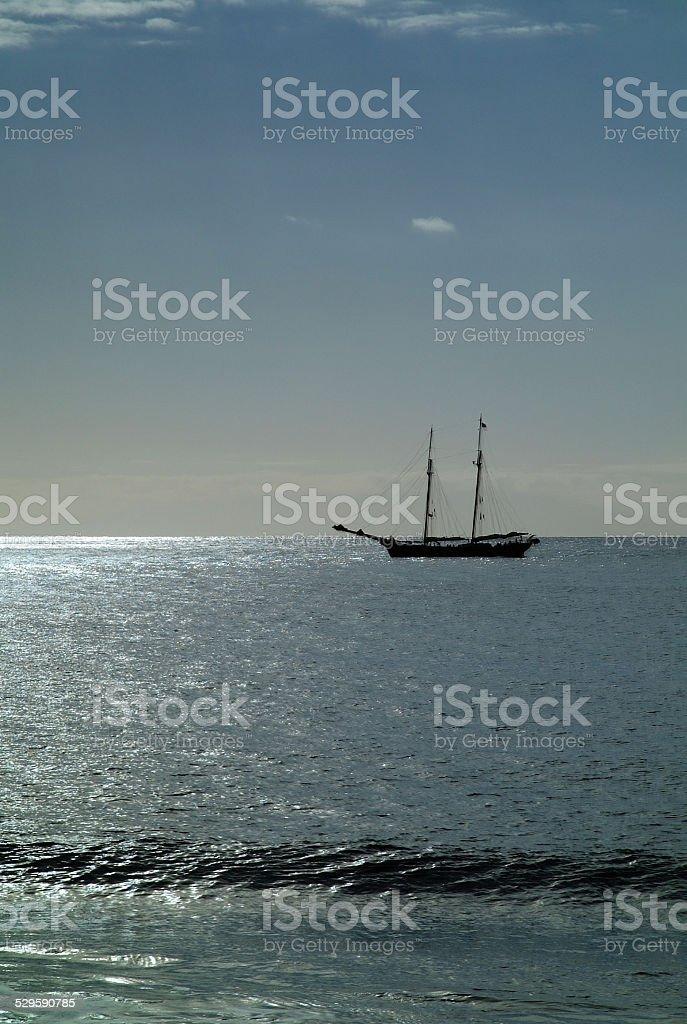 Sailing ship off the coast royalty-free stock photo