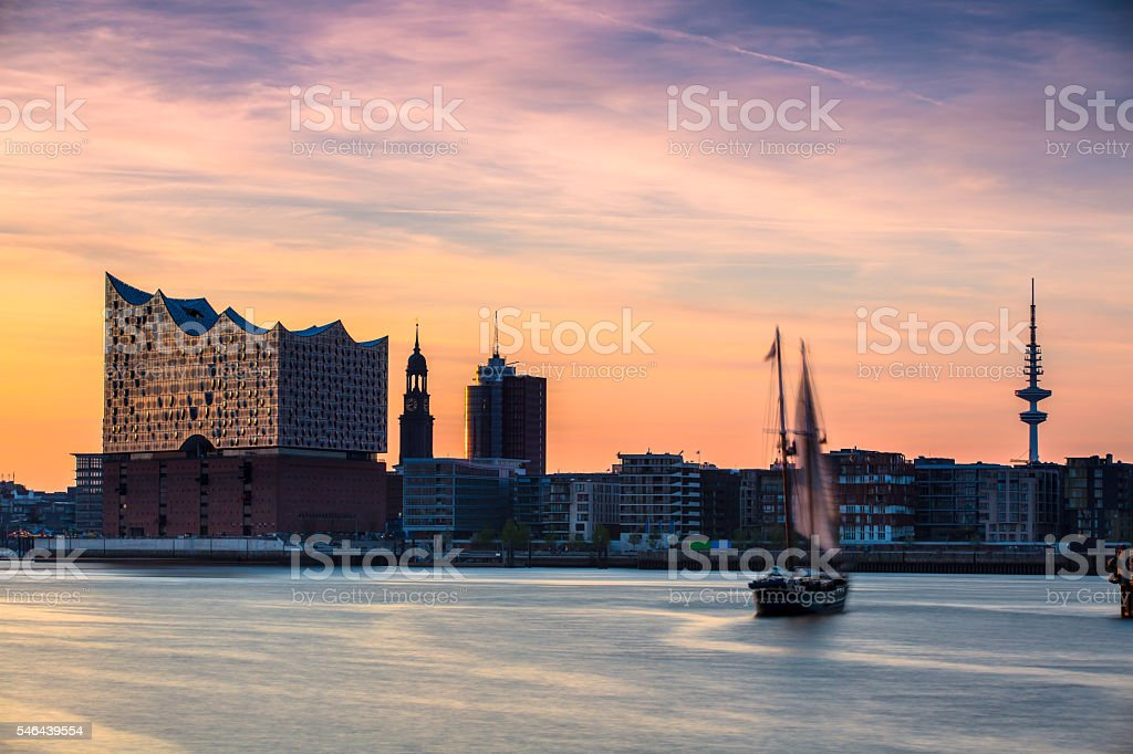 Sailing ship on the river Elbe stock photo