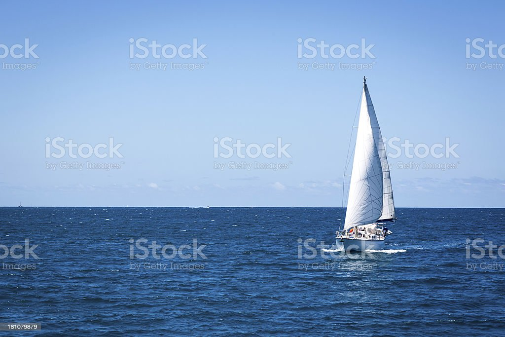 Sailing Ship on Water in Tropical Paradise royalty-free stock photo